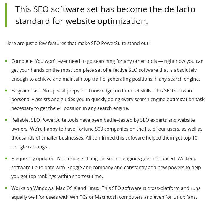 seo software de facto standart