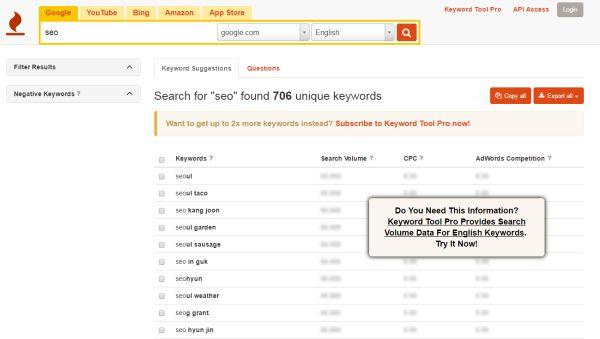keywordtool.io serach example