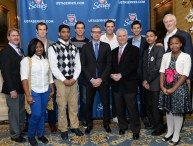 Representatives from Tennis Night in America, including the Bryan Brothers, Novak Djokovic, Andy Murray and USTA reps Gordon Smith and Dave Haggerty