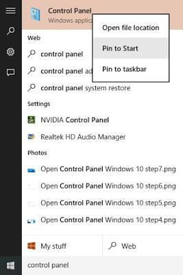 panel de control en barra de tareas