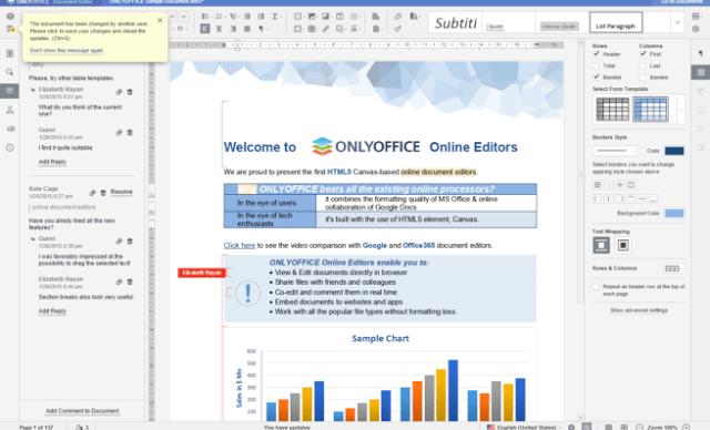 interfaz de OnlyOffice