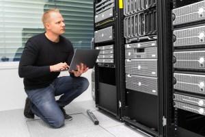 Engineer in server room