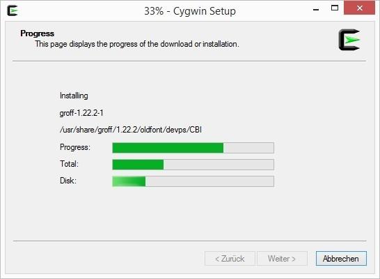 Cygwin-Installation-07-Fortschritt