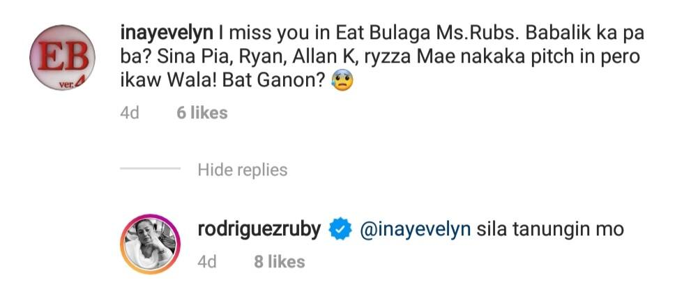 "Ruby Rodriguez on not appearing on Eat Bulaga: ""Sila tanungin mo"""