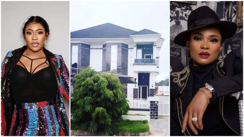 A collage of the two friends and the house. Photo source: Instagram/Iyabo Ojo/Abiola Tosin