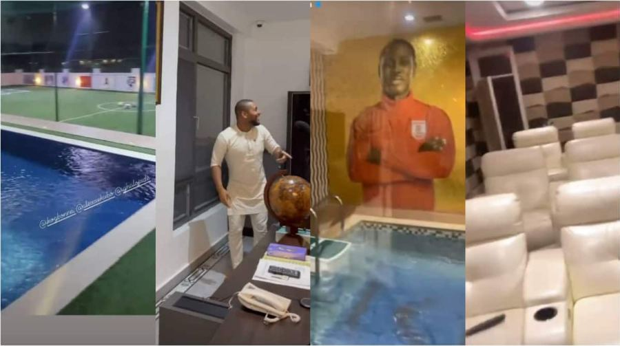 Alexx Ekubo, Ik Ogbona Stunned As They Take Pictures During Tour of Ighalo's Mansion With Indoor Cinema, Pool
