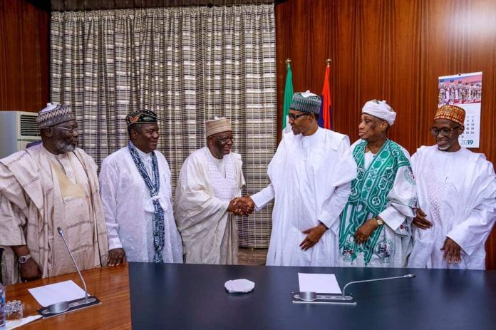 Image result for President Buhari receives ministers who worked with him 1984 1985