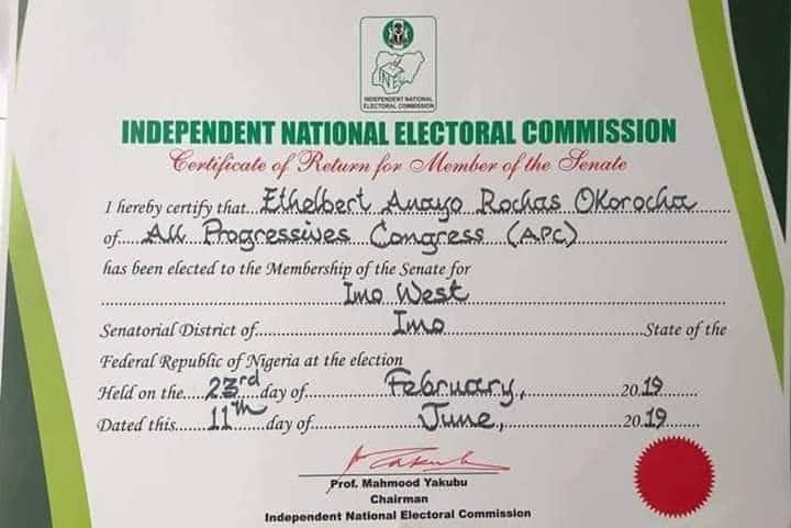 INEC finally issues return certificate to Okorocha