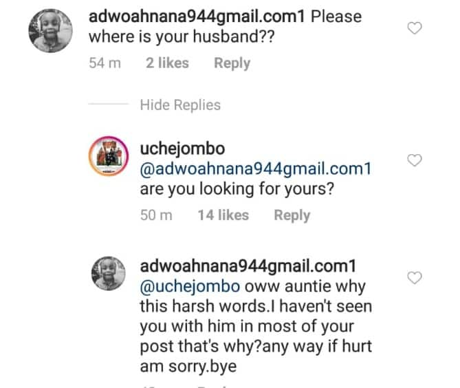 Between Uche Jombo and a follower who asked her the whereabouts of her husband