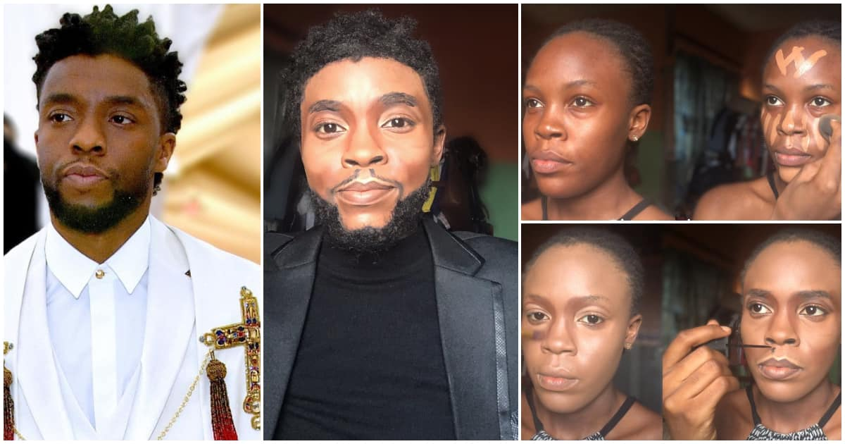 Nigerians in awe as female makeup artist transforms herself to late Chadwick Boseman