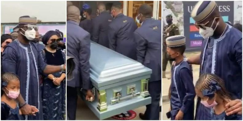 Tears as Peter Okoye's wife Lola finally buries father in emotional ceremony