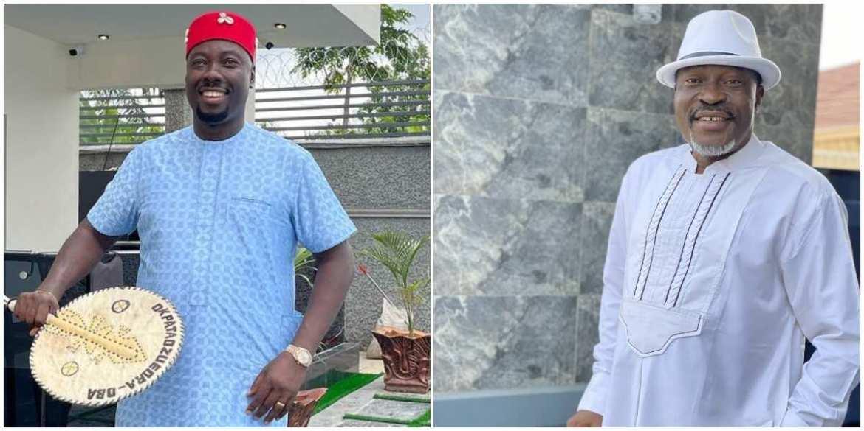 Obi Cubana Makes the Cross Sign as Kanayo O. Kanayo Rains Crisp N500 Notes on Him, Nigerians React ▷ Nigeria news | Legit.ng