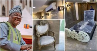Nigerians react to video of late Senator Ajimobi's fully furnished and air-conditioned burial ground