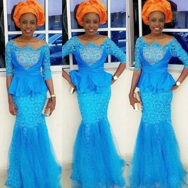 Nigerian native lace skirt and blouse images 2018