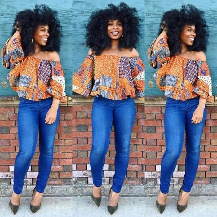 Ankara top with jeans