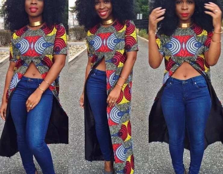 Ankara blouses on jeans: amazing look