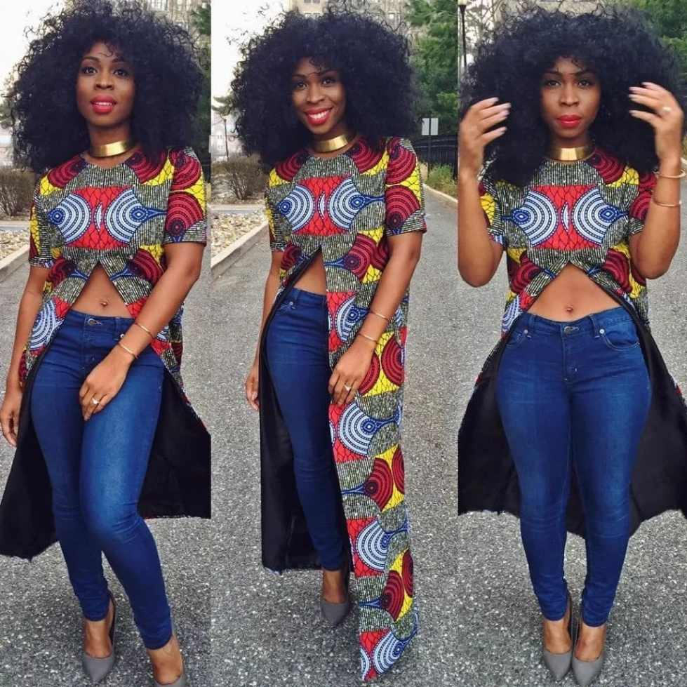 Ankara blouses on jeans: amazing look