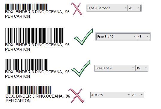 Barcode Font Test Result