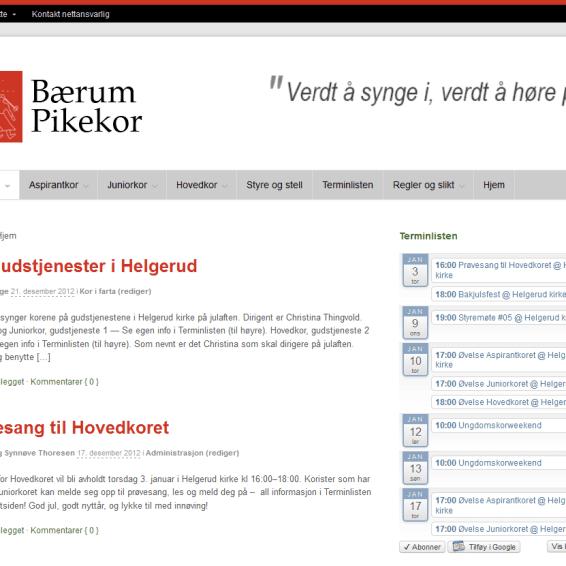 Bærum Pikekor Lukkede medlemssider - november 2012