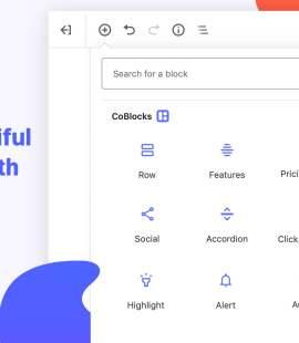 CoBlocks blokkvelger skjermbilde