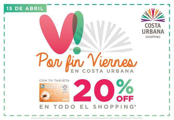 """Costa Urbana Shopping propone descuentos del 20% en una nueva edición de """"Por fin viernes"""""""