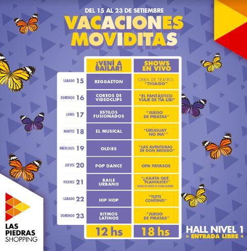 Las vacaciones de primavera llegan con shows en vivo y clases de baile a Las Piedras Shopping
