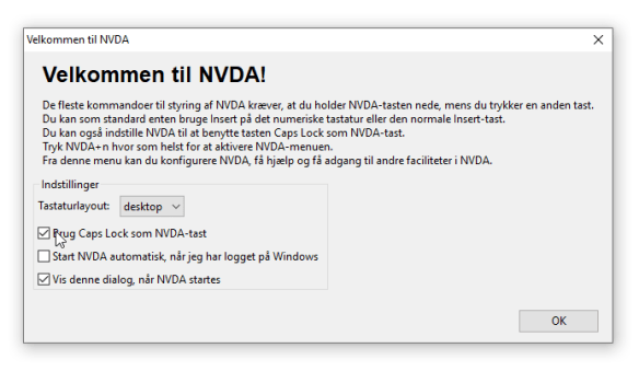 NVDA startvindue. Brug Caps Lock som NVDA-tast er valgt