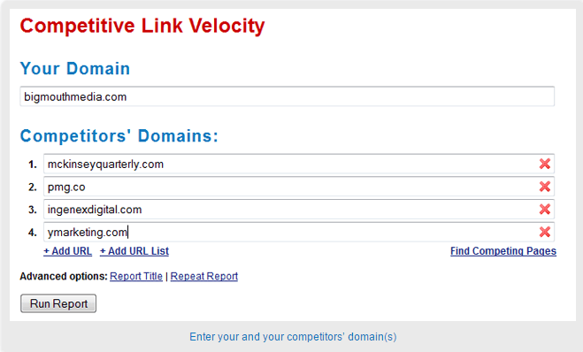 Competitive Link Velocity Tool