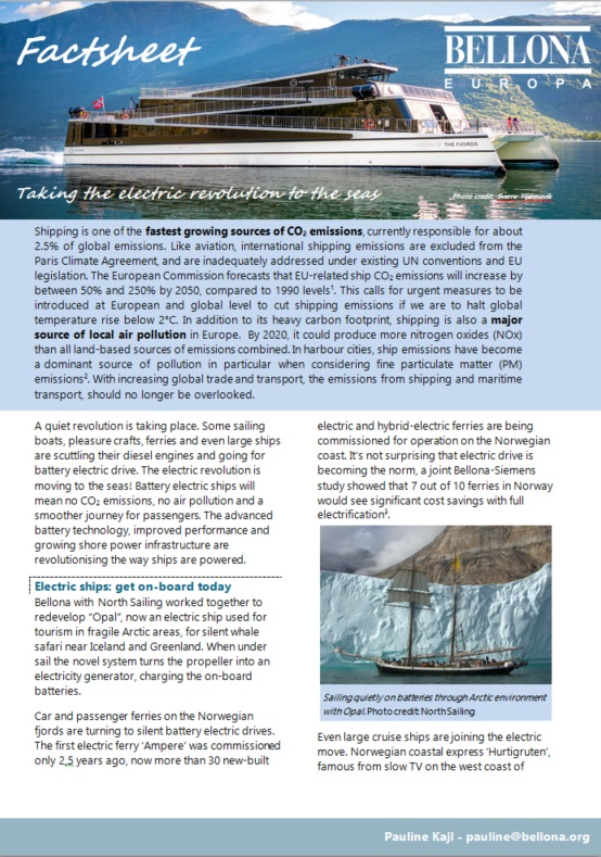 Factsheet  Taking the Electric Revolution to the Seas   Bellona org Factsheet front
