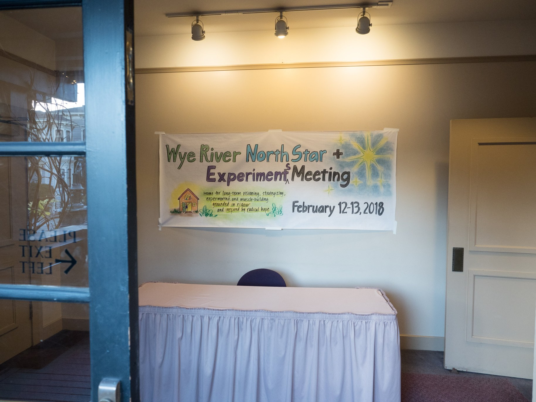 Wye River North Star + Experiments Meeting, February 12-13, 2018, Nile Hall, Preservation Park, Oakland, California.