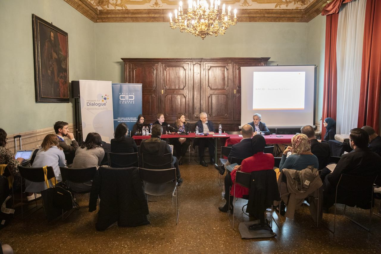 Network for Dialogue panel at the 2019 EuARE conference in Bologna with His Eminence Metropolitan Emmanuel of France, Dermana Seta of ODIHR, representatives of the Austrian Red Cross and the Network for Dialogue