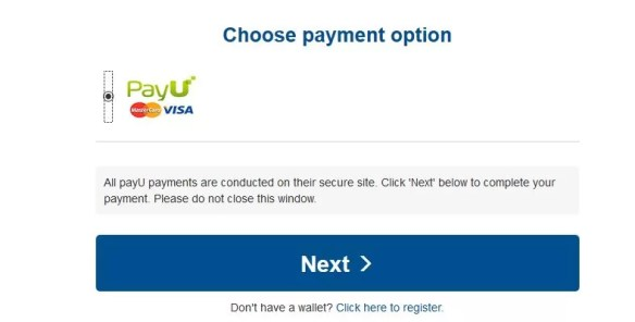 """Click on the """"PayU,"""" button to pay using MasterCard or VISA"""