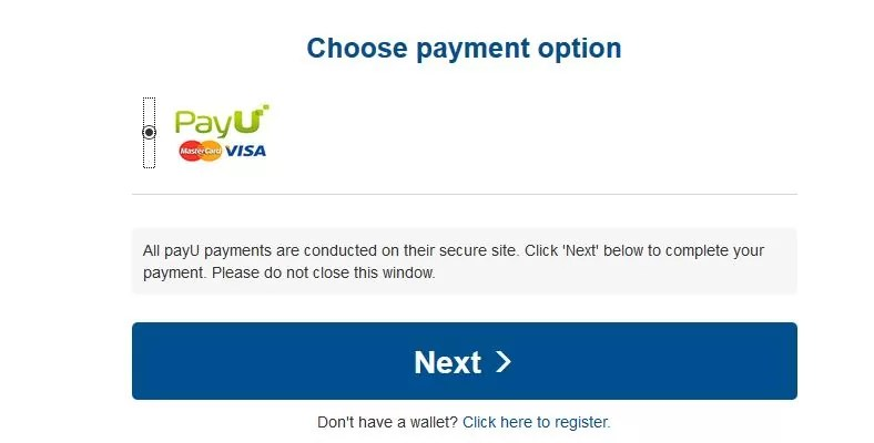 "Click on the ""PayU,"" button to pay using MasterCard or VISA"