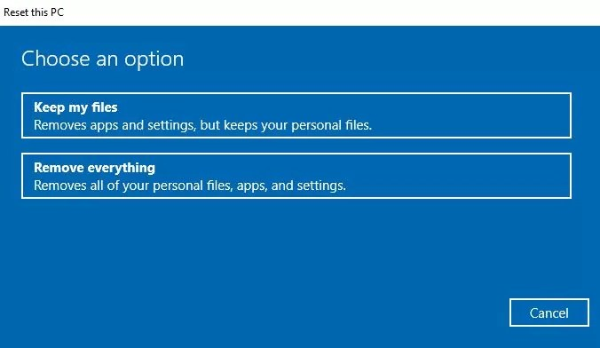 reset Windows 10 without losing files