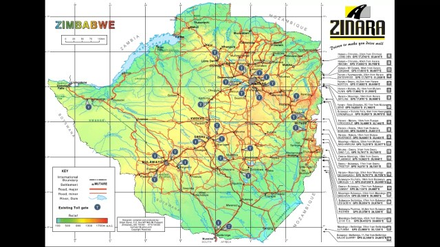 Zimbabwe toll gates map