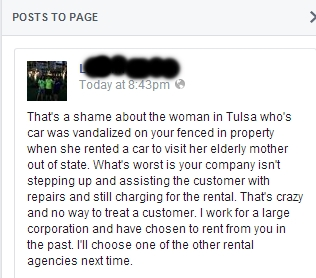 Comment on Enterprise Rent-A-Car's Facebook Page.