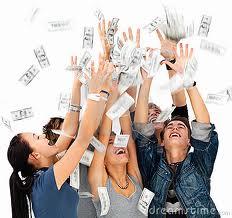 happy people with money