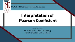 Interpretation of Pearson Coefficient | Dr. Nancy E. Añez-Tandang