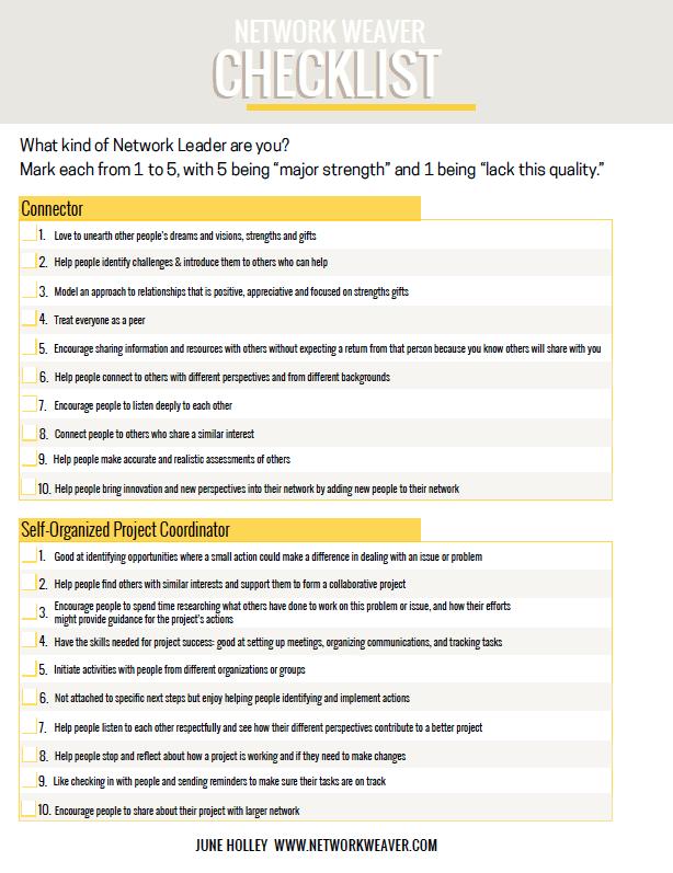 Network Weaver Checklist - NetworkWeaver