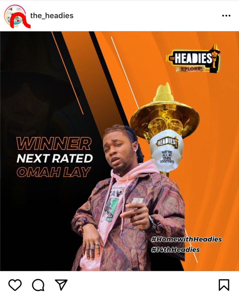 Omah Lay emerges winner of the Next Rated Award category at the 14th edition of the Headies music awards