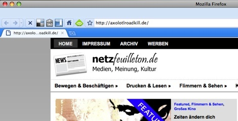 Auf diesem Blog landet man, gibt man axolotlroadkill.de ein.