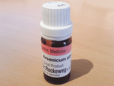 Typical brown glass bottle with the well-known homeopathic remedy