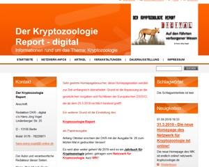 """Screenshot der Webseite """"Der Kryptozoologie-Report"""""""