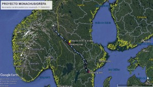 Karte mit dem Weg des Mönchsgeiers Brinzola durch Schweden und Norwegen am 17. und 18. Mai 2019