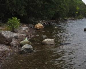 Spielzeug-Nessie sitzt auf einem Stein am Ufer