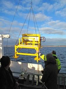 Eine gelb lackierte Plattform von mehr als 2 m Größe hängt an einem Schiffskran. Ein Mann dirigiert sie über das Wasser