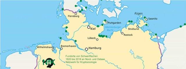 Fundorte von Schwertfischen an Nord- und Ostsee 1620 bis 2018