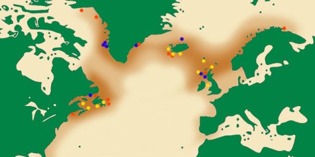 Riesenalk-Verbreitungsbebiet mit Brutkolonien