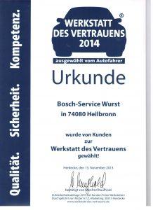 Werkstatt des Vertrauens Urkunde 2014