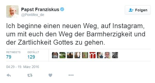 Beitragsbild - Twitter- Neue Debatte - 19032016 - Screenshot - Papst-Tweet
